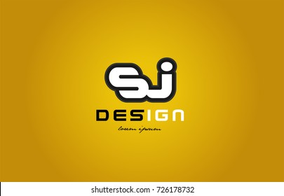 design of bold alphabet letter combination sj s j with white color and black contour on yellow background suitable for a company or business