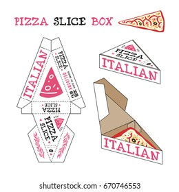 Design of box for pizza slice. In the style of hand-drawn graphics. Unwrapped box with layout elements and 3d presentation