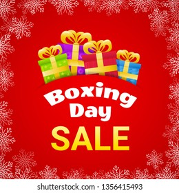 Design for Boxing Day Sale poster with four different gift box on red background with snowflakes. Vector illustration.