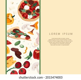 Design of Broadsheet Poster.Banner for pizzeria with Mushroom Champignon pizza,ingredients on White background.Promo template for Italian food restaurants or cafes.Vector illustration of advertisement