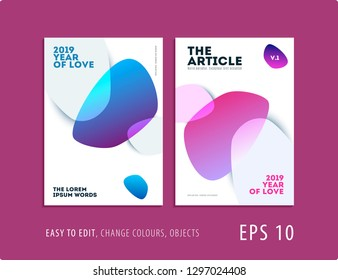 Design of brochure smooth soft template. Creative abstract set, annual report, horizontal cover, flyer in A4 with colourful smooth shapes for branding, exhibition. Business vector presentation.