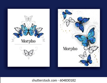 Design brochures with blue butterflies morpho on white background.