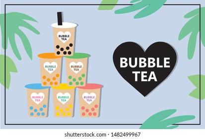 Design the bubble tea, Pearl milk tea, tapioca milk tea, black pearls summer style poster.