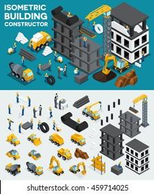 Design building isometric view, create your own design, building construction, excavation, heavy equipment, trucks, construction workers, people, uniform blocks, piles. Vector illustration