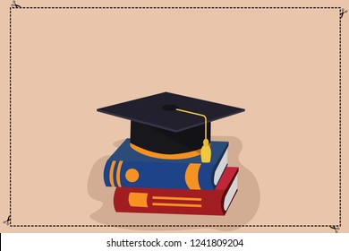 Design business concept Empty copy text for Web banners promotional material mock up template Color Graduation Hat with Tassel 3D Academic cap Vector Resting on Books