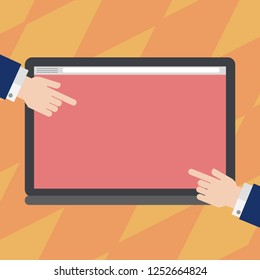 Design business concept Empty copy text for Web banners promotional material mock up template. Hu analysis Hands from Both Sides Pointing on a Blank Color Tablet Screen