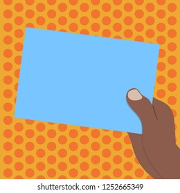 Design business concept Empty copy space modern abstract background. Drawn Hu analysis Hand Holding Presenting Blank Color Paper Cardboard Vector