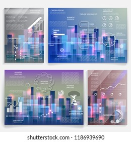 Design for business data visualization, cover layout and infogra