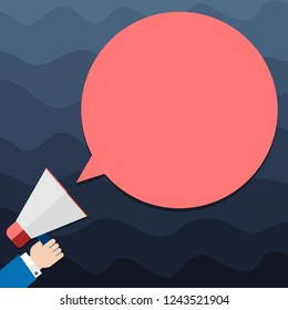 Design business Empty copy space text for Ad website promotion isolated Banner template Hu analysis Hand Holding Megaphone Blank Round Color Speech Bubble Vector