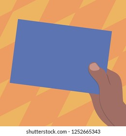 Design business Empty copy space text for Ad website promotion isolated Banner template. Drawn Hu analysis Hand Holding Presenting Blank Color Paper Cardboard Vector
