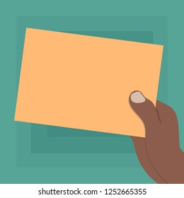 Design business Empty template isolated Minimalist graphic layout template for advertising . Drawn Hu analysis Hand Holding Presenting Blank Color Paper Cardboard Vector