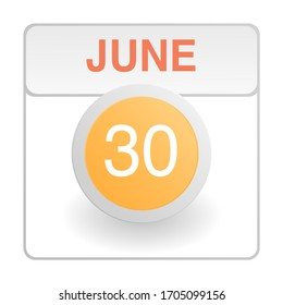 Design calendar icon in trendy style. Daily sign of the calender for web site design, logo, app, UI/UX. Vector illustration symbol of a calendar. Summer June 30
