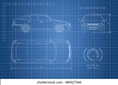 The design of the car drawing on a blue background. Three types: top, side, front. Vector illustration