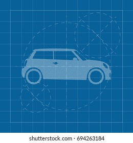 The design of the car drawing on a blue background, white print vector illustration.