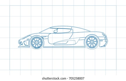 The design of the car drawing on a blue background, white print vector illustration
