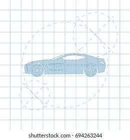 The design of the car drawing on a white background, blue print vector illustration.