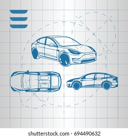 The design of the car drawing on a white background, blue print vector illustration. Electric car.