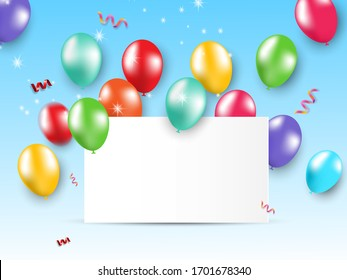 Design card party glossy balloons on blue background.