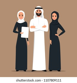 Design with Cartoon Characters business Moslem people in traditional clothing vector illustration.