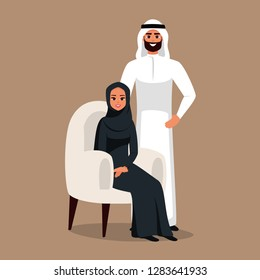 Design with Cartoon Characters business Moslem people in traditional clothing vector illustration.Arabian Business team of man and woman
