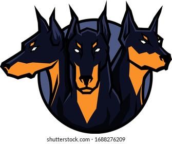 Design of Cerberus Three Heads Dog Logotype Vector