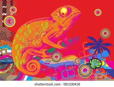 Design of chameleon. Vector illustration. Engraved style