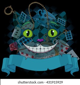 Design of Cheshire cat on wonderland background