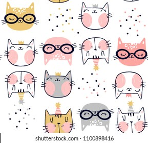 design for children cats pattern all over