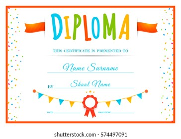 Design children's diploma. Template for school or kindergarten. Kids certificate. Vector illustration