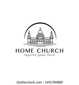 design of the church building line logo.