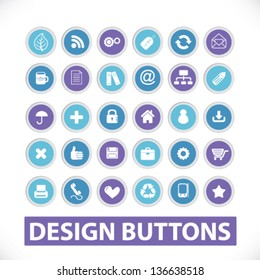 design circle website buttons, signs, icons set, vector