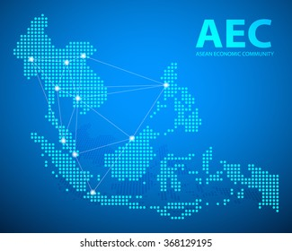 Design clean AEC, Asean Economic Community map, vector illustration, EPS10