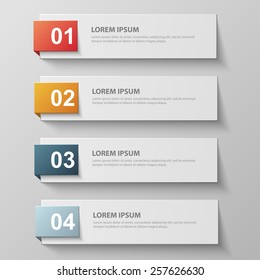 Design clean template for numbered banners, infographics, graphic or website layout. Vector illustration.