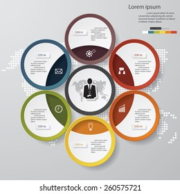 Design clean template/graphic or website layout. 6 steps in the circle shape layout.