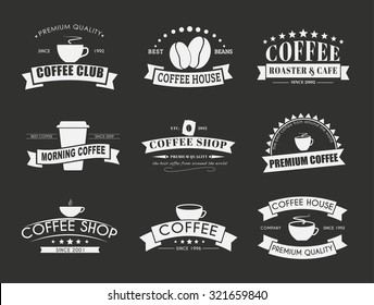 Design coffee logos (emblems) in the old style with ribbons. Vector illustration. Set on a black background