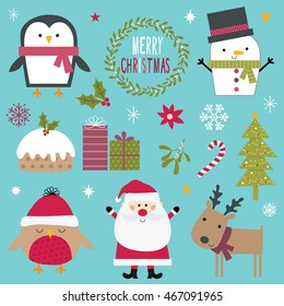 Design collection of cute characters and Christmas ornaments