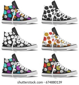 Design collection of realistic sneakers mock up on white background. Youth sneakers for Your business project. Hipster and pop sneakers styles. Vector Illustration