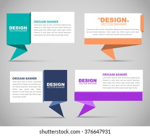 Design colored banners in origami style. Vector illustration. Set