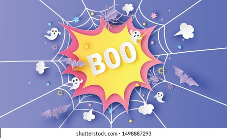 Design comic speech bubble decorated with cobweb, firework, spider, bat, ghost spirit and calligraphy of BOO. paper cut and craft style. vector, illustration.