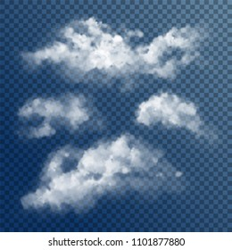 Design composition of transparent white vector clouds. Natural design elements