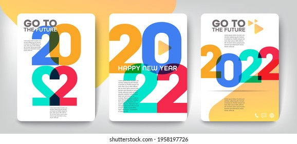 Design concept of 2022 Happy New Year set. Templates with typography logo 2022 for celebration, Colorful trendy backgrounds for branding, banner, cover, card, social media, poster, Vector EPS 10