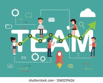 Design Concept Banner of word Team. Set of development, web and mobile application - Flat design