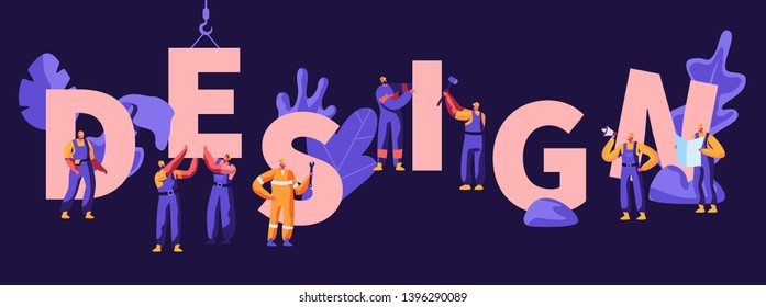 Design Concept. Building Construction Process with Crane and Workers Characters in Uniform and Helmets, Architects with Project Plan. Poster, Banner, Flyer, Brochure. Cartoon Flat Vector Illustration