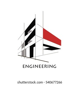 design concept, construction, flat style of lines and planes in perspective. contrasting colors, construction lines. logo, poster, banner
