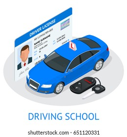 Design concept driving school or learning to drive. Flat vector isometric illustration