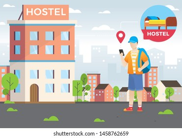Design concept of hotel search and booking online. A young man holding smart phone. Hostel search, Looking for lodging. Cheap place for living or one night. Flat Cartoon vector illustration