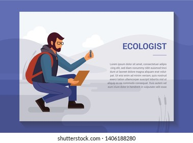 Design concept with an illustration of a bearded man in glasses and with a backpack, ecologist in nature, who takes samples from the reservoir. There is a place for text.