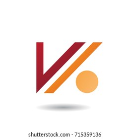 Design Concept of Letter V and Dot Icon, Vector Illustration Isolated on a White Background