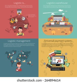 Design concept set for logistic warehouse management and universal payment system isolated vector illustration