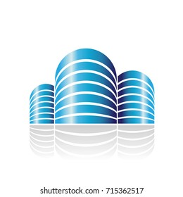 Design Concept of Shiny Cylindrical Residences Icon, Vector Illustration Isolated on a White Background